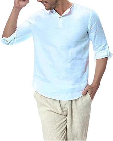 Gordon Q Camisa de Manga Larga Informal de Lino y algodón para Hombre: Amazon.es: Ropa y accesorios