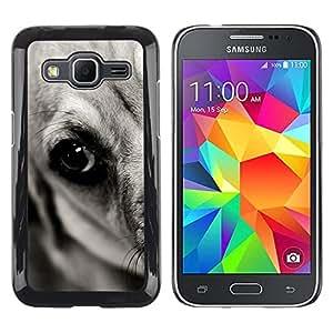 Be Good Phone Accessory // Dura Cáscara cubierta Protectora Caso Carcasa Funda de Protección para Samsung Galaxy Core Prime SM-G360 // Flat Coated Black Retriever Great Dane