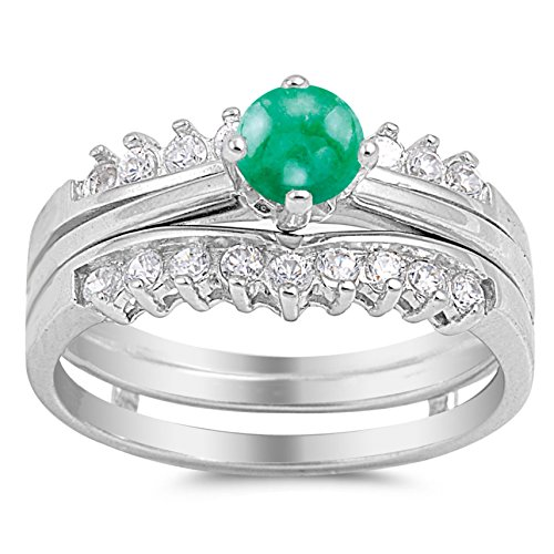 925 Sterling Silver Cabochon Natural Genuine Green Emerald Round Solitaire Set Ring Size 6