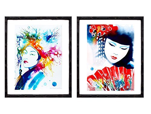 Set of 2 Geisha Fashion Illustrations Fine Art Prints of Watercolor Paintings Asian Japan Oriental Girl Red Salon (2 Japan Fine China)