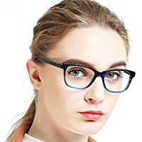 OCCI CHIARI Non-prescription Black Stripe/Blue/Pink/Red Eyewear Frames Clear Lens Eyeglasses Designer For Womens 53mm