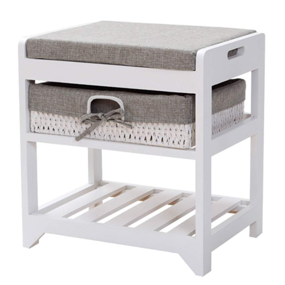 BROWN 42x32x45cm CAIJUN Footstool shoes Shelf Rack Solid Wood Thick Cotton Pad Storage Washable No Need to Install, 3 colors, 3 Sizes (color   White, Size   80x34x45cm)