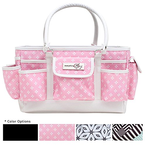 Everything Mary Deluxe Store and Tote Organizer | Bin for Scissors, Pens, Pencils, and Craft Materials, | Storage Tote for Office, Home, and Craft Supplies (Pink Star) ()