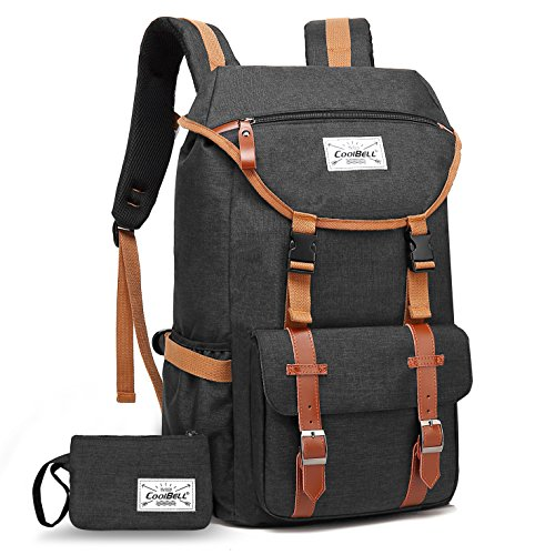 Travel Backpack CoolBELL 17.3 Inches Laptop Backpack Leisure Outdoor Rucksack Hiking Knapsack School Daypack Multi-functional Business Bag For School/College/Men/Women (38L, Black) by CoolBELL (Image #7)
