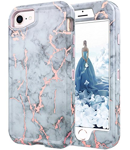 BAISRKE iPhone 7 Case, iPhone 8 Shiny Rose Gold White Gray Marble Case Heavy Duty Hybrid 3-Layer Full-Body Protect Case Soft TPU & Hard Plastic Back Cover for iPhone 6/7/8 - Pink