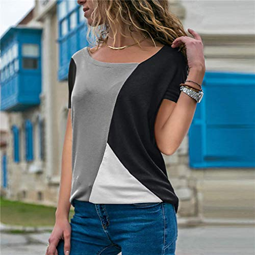Yidarton Women's Summer Tee Shirts Short Sleeve Shirts Patchwork V-Neck Casual Tunic Tops Blouse Basic Color Block T Shirt (#2Gray+Black, Medium)