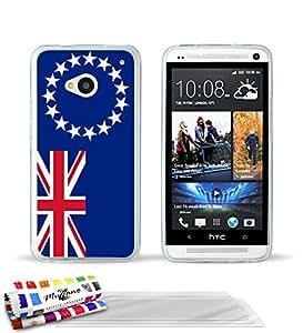 """Carcasa Flexible Ultra-Slim HTC ONE / M7 de exclusivo motivo [Islas Cook Bandera] [Transparente] de MUZZANO  + 3 Pelliculas de Pantalla """"UltraClear"""" + ESTILETE y PAÑO MUZZANO REGALADOS - La Protección Antigolpes ULTIMA, ELEGANTE Y DURADERA para su HTC ONE / M7"""