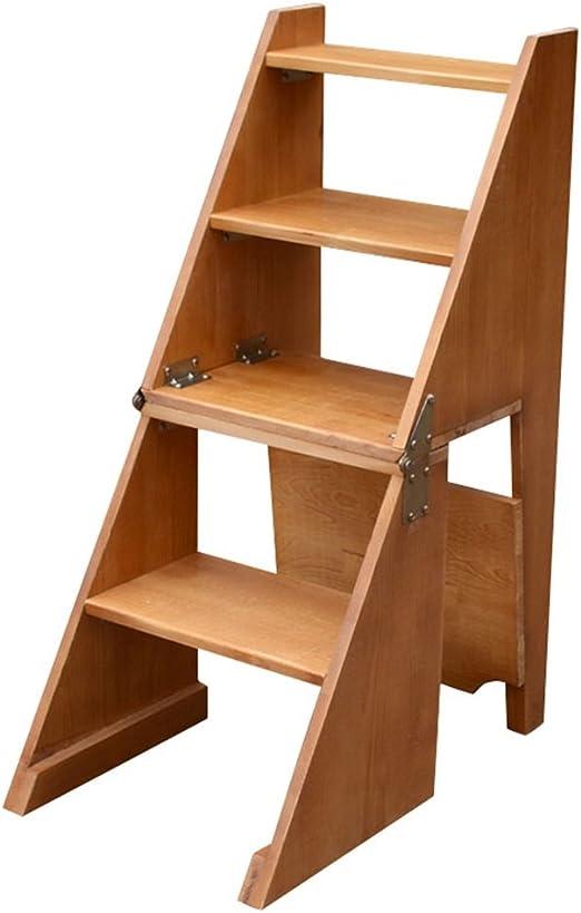 Escalera Plegable Madera Escalera de Madera Plegable Multifuncional de la Silla del Taburete del hogar (Puede Hacer una Silla también Puede ser una Escalera) (Color : #1): Amazon.es: Hogar