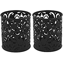 EasyPAG 2 Pcs 3-1/4 inch Dia x 3-3/4 inch High Round Floral Pencil Holder , Black