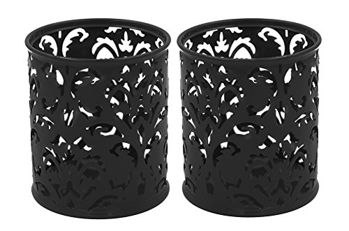 (EasyPAG 2 Pcs 3-1/4 inch Dia x 3-3/4 inch High Round Floral Pencil Holder, Black)