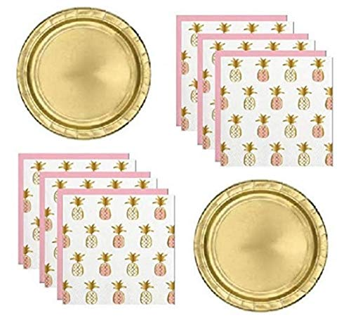 Pineapple Theme Palm Tree Fiesta Party Supplies for 16 Guests Including Gold Shiny Plates And Gold Foil Stamped Napkins ()