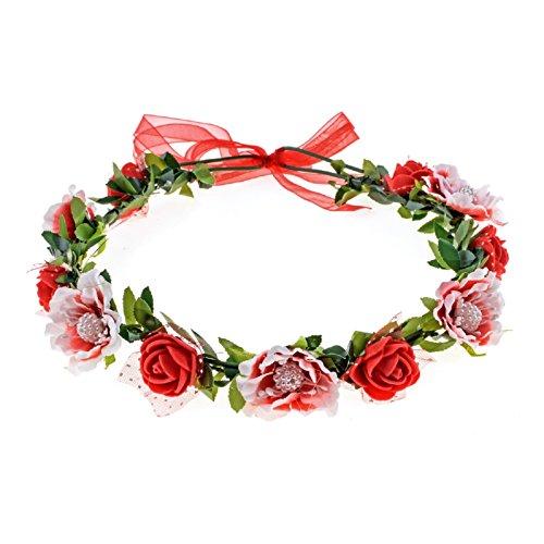 Love Sweety Girls Boho Rose Floral Crown Wreath Wedding Flower Headband Headpiece (Red)