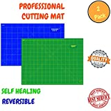 Double Sided Self Healing Cutting Mat For Scrapbooking, Sewing, & Quilting – Durable & Practical Design With Convenient Grids & Angles For Maximum Precision- 2 Pack(Blue A1 & Green A3)