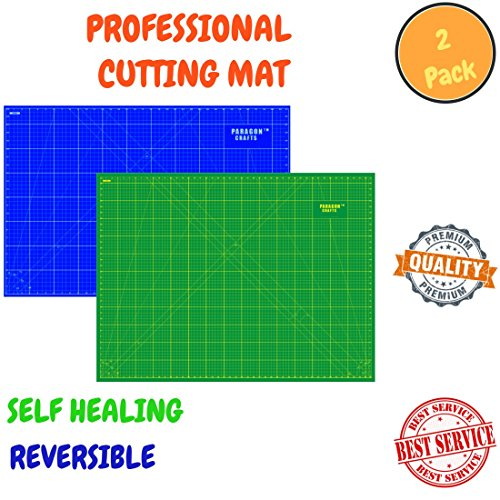 Self Healing Rotary Cutting Mat With Grids & Angle Indications For Optimal Precision – Double Sided, Thick & Durable Design, Ideal For Quilting, Scrapbooking & More- 2 Pack(Green A2 & Blue A2) by Paragon Crafts