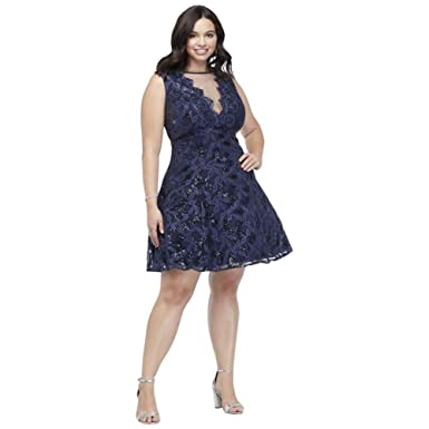 David\'s Bridal Embroidered Plus Size Prom Dress with Illusion ...