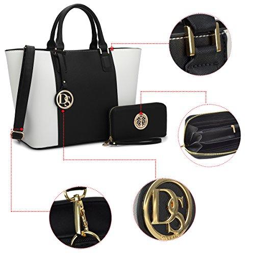 Tote Black Dasein Large Handle Matching Wallet Top Designer White Bag Satchel Laptop Women's Shoulder Bag Handbag Purse 6417 Structured wZq4wg0