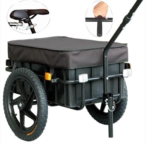 Veelar Bicycle Cargo Trailer & Hand Wagon Shopping/Utility Trailer 70 Liter Capacity-20315 Special Offers