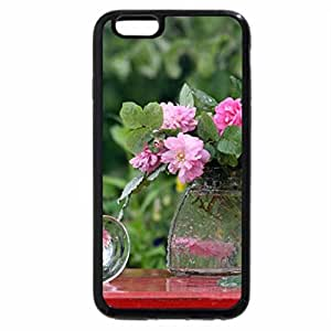 iPhone 6S / iPhone 6 Case (Black) Flowers with Rain Drops