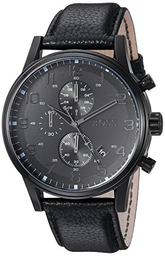 (Hugo Boss Leather Strap Chronograph Watch Black One Size)