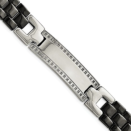 Saris and Things Stainless Steel/Ceramic Polished 1/4ct tw. Diamond Bracelet 8.25in ()