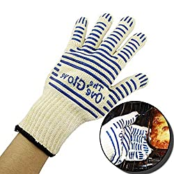 One Five Day Hot 2pcs Set Oven Gloves Silicone Heat Proof Resistant Fireplace Gloves Silicone Bbq Gloves Outdoor Barbecue Oven Gloves Kitchen For Women Men And Housewife