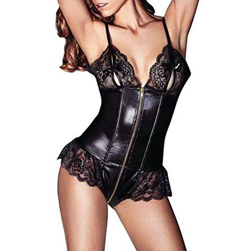 Wet Look Lace Up Bustier - 7