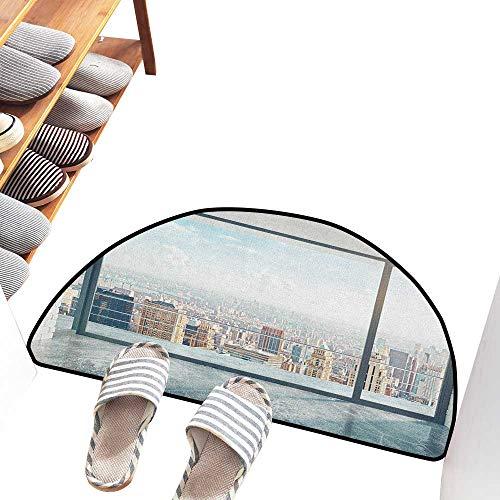 (Axbkl Entrance Door mat Modern Empty Loft Cityscape Apartment Buildings Industrial Landscape Image Print Durable W36 xL24 Pale Grey and White)