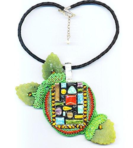 Big Apple necklace OOAK unique handmade geometrical beadwoven - Jade Pendant Green Apple