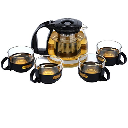 Glass Teapot with Removable Stainless Steel Filter 24oz Tea Pot Set with 4 Removable Handle Tea Cups