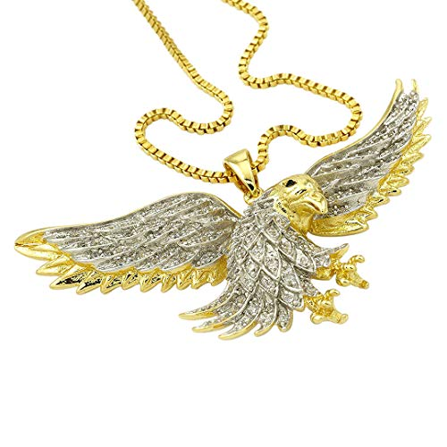 Eagle Plated Gold - Niv's Bling - 18K Gold Plated Bald Eagle Pendant - Iced Out CZ Hip Hop Pendant on Box Chain, 30 Inches