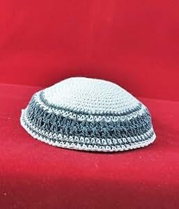 Kippah A white knitted cap 15 cm