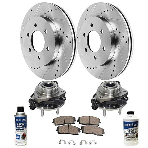Wheel Hub Bearing Assembly, Drilled and Slotted Disc Brake Rotors w/Ceramic Pads for 06-07 Buick Rainier/Saab 9-7X - [06-08 Chevy Trailblazer/GMC Envoy] - 06 Chevy SSR ()