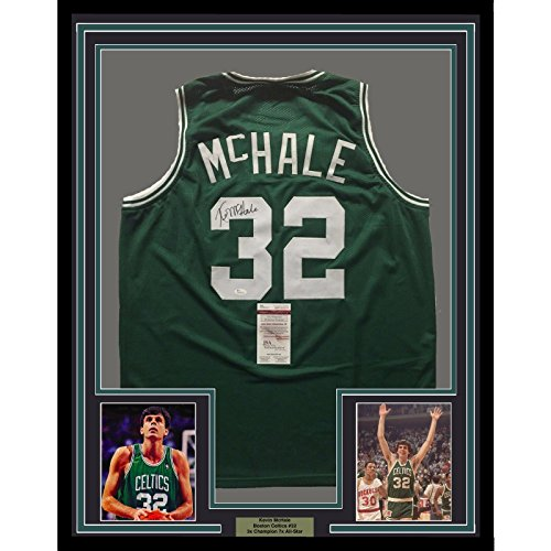 Framed Autographed/Signed Kevin McHale 33x42 Boston Green Basketball Jersey JSA ()