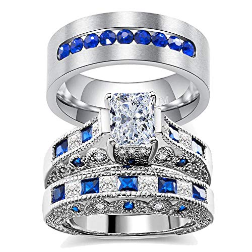 3pc Two Rings His and Hers Couple Rings Bridal Sets His Hers Women White Gold Plated Blue Sapphire Cz Man Titanium Wedding Ring Band Set