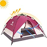Camel 2-3 Person Instant Rainproof Camping Tent Automatic Waterproof Pop up Tents for Summer Outdoor Backpacking Red