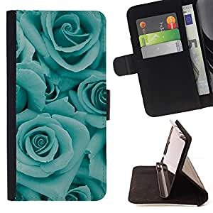 Momo Phone Case / Flip Funda de Cuero Case Cover - Fleurs Floral Pétale Teal - Sony Xperia Z5 Compact Z5 Mini (Not for Normal Z5)