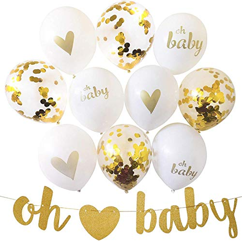 Oh ❤ Baby Banner with 10 Balloons, Gold Glittery Letters Baby Heart Banner with Heart with 10 Balloons for Baby Shower Party Pregnancy Announcement Birthday Decorations Little Boy or Girl ()
