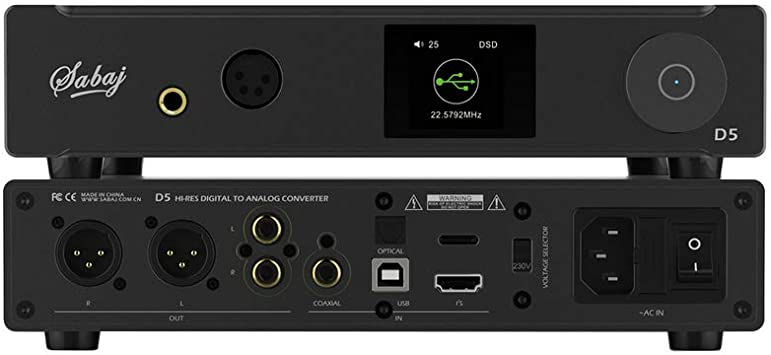Sabaj D5 Hi-Res Audio Convertidor Digital a Anal/ógico Balance HiFi Auriculares Amplificador DAC Chip ES9038PRO ES9311 32bit 768kHz DSD512 con Preamplificador Control Remoto