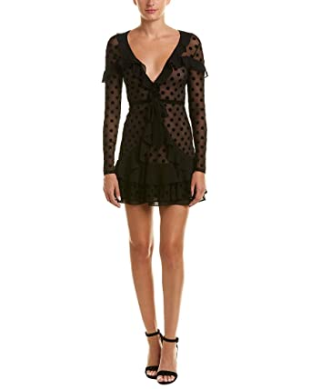 937a68218ac2 Amazon.com: For Love & Lemons Womens Ruffled Mesh Party Dress Black XS:  Clothing