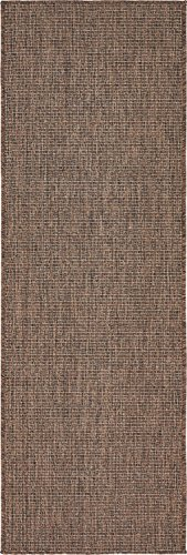 Unique Loom Outdoor Solid Collection Casual Transitional Indoor and Outdoor Flatweave Light Brown  Runner Rug (2' 0 x 6' 0) (Rug 2 6 Runners Outdoor X)