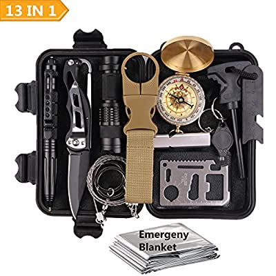 TRSCIND Survival Gear Kits 8-In-1 Molle Pouch/Holster, Tactical Outdoor Gears, Survival Bracelet, Emergency Blanket, Tactical Pen for Camping, Hiking, Hunting from TRSCIND