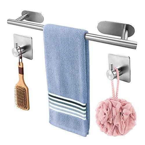 Voimakas 타올걸이 수건 걸쳐 304 2 장 벽걸이 훅을 선물로 설치가 간단 강력한 접착 하중 1.5-3KG 주방 욕실 욕실 화장실 용 40cm