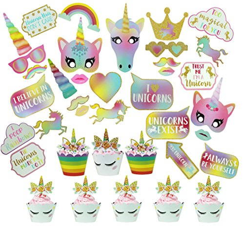 Unicorn Party Supplies, Aucheer Rainbow Unicorn Party Decor with unicorn photo booth props kit (30PCS) and Unicorn Cupcake Wrappers Topper (24Sets) for Bithday party Baby Shower Decorations