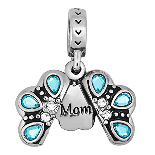 LovelyJewelry Mom/Peacock/Christmas Tree Charms Blue Openable Flower Beads For Charm Bracelets Necklace (Mom) - Mom Flower Charm
