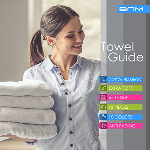 Rayon from Bamboo and Cotton, 18-Piece Bathroom Towel Set, Highly Absorbent, Super Velvety Soft, Dobby Checkered Dual Border, River Blue by Blue Nile Mills (Image #4)