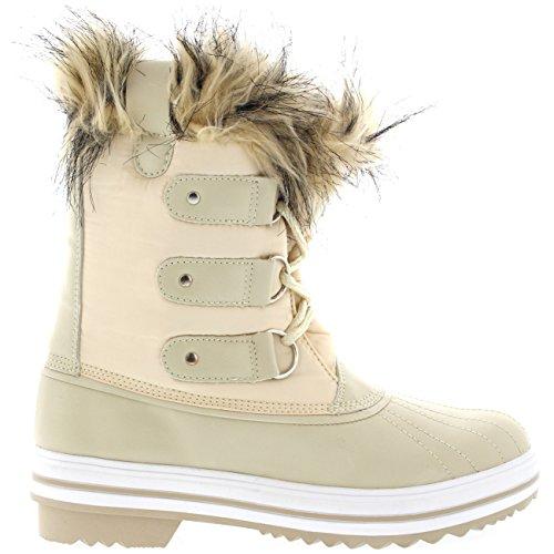 Mujer Manguito De Piel Cordones Caucho Corto Nieve Lluvia Zapato Botas Beige Nylon