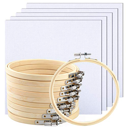 10 Pcs 5 Inch Embroidery Hoops Set with 5Pcs Non-Woven Embroidery Cloth,Cross Stitch Hoop Ring Imitated Wood Display Frame-Circle and Oval Hand Embroidery Kits for Art Craft Sewing