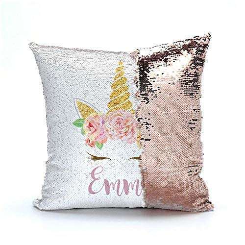 BlueVStudio | Personalized Unicorn with Flowers Reversible Sequin Pillow Case | Magic Pillow | Sequin Pillow