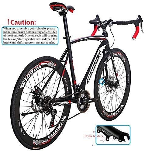 Eurobike Road Bike EURXC550 21 Speed 54 cm Frame 700C Wheels Road Bicycle Dual Disc Brake Bicycle Black-White 60