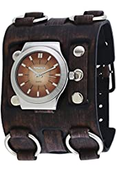 Nemesis #BFW331B Men's Brown Super Wide Leather Band Gradient Brown Dial Watch